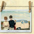 Vintage Campers - women on vacation original painting by LindaAppleArt