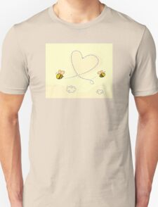 Bee's heart. Bees making big love heart in the air.  Unisex T-Shirt