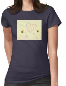Bee's heart. Bees making big love heart in the air.  Womens Fitted T-Shirt