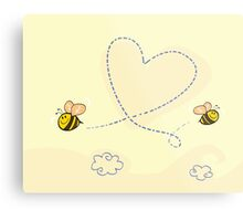 Bee's heart. Bees making big love heart in the air.  Metal Print
