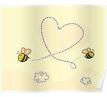 Bee's heart. Bees making big love heart in the air.  Poster