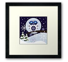 Snow Owl in Snowflakes land Framed Print