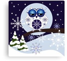 Snow Owl in Snowflakes land Canvas Print