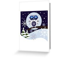 Snow Owl in Snowflakes land Greeting Card