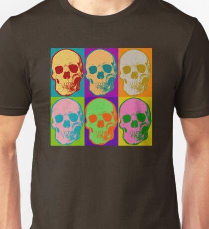 Skull Pop Art Retro Graphic Skulls Bright Color Design Unisex T-Shirt