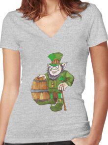IRISH LEPRECHAUN Women's Fitted V-Neck T-Shirt