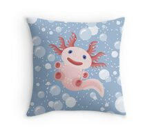 Axolotl and The Bubbles Throw Pillow