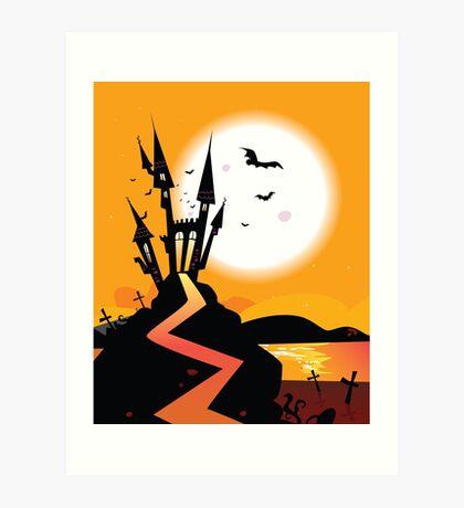 Haunted Castle. Bats over spooky Castle. Vector Illustration. Art Print
