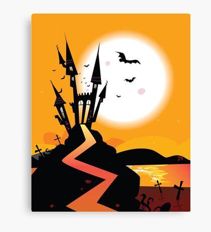 Haunted Castle. Bats over spooky Castle. Vector Illustration. Canvas Print