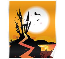 Haunted Castle. Bats over spooky Castle. Vector Illustration. Poster