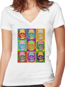 Frankenstein Pop Art Retro Graphic Design Halloween  Women's Fitted V-Neck T-Shirt