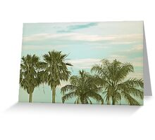 Palm Trees and Aqua Sunset Sky Greeting Card