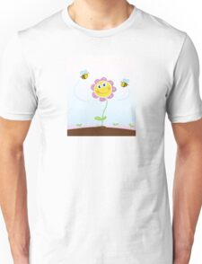 Bees and flower. Happy garden flower with bees around. Unisex T-Shirt