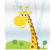 African Giraffe. Vector Illustration of funny animal. Poster