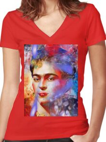 Frida Kahlo Painted Women's Fitted V-Neck T-Shirt
