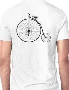 Bicycle, Cycle, Penny Farthing, Racing Bike, Road Bike, Racing bicycle, Black on White Unisex T-Shirt