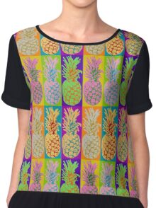 Pineapple Pop Art Retro Design Graphic Pineapples Fruit  Chiffon Top