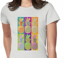 Pineapple Pop Art Retro Design Graphic Pineapples Fruit  Womens Fitted T-Shirt
