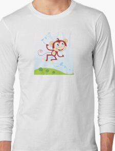 Jungle monkey. Funny animal jumping in jungle Long Sleeve T-Shirt
