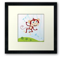 Jungle monkey. Funny animal jumping in jungle Framed Print