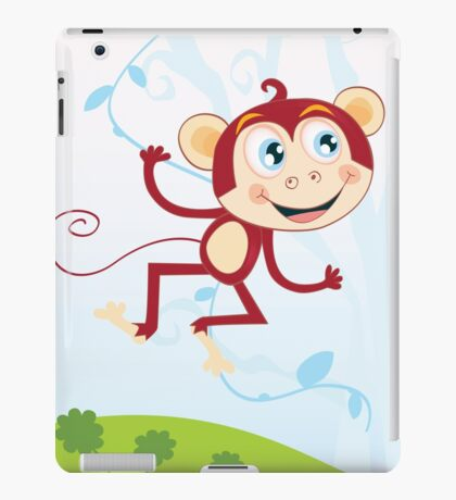 Jungle monkey. Funny animal jumping in jungle iPad Case/Skin