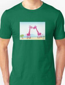 Giraffes in Love. Vector Illustration Unisex T-Shirt