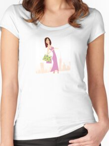 Spring shopping. Vector Illustration of woman with shopping bags. Women's Fitted Scoop T-Shirt