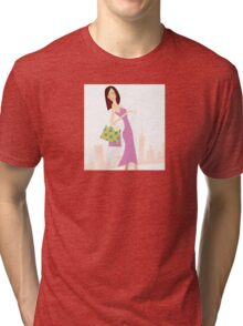 Spring shopping. Vector Illustration of woman with shopping bags. Tri-blend T-Shirt