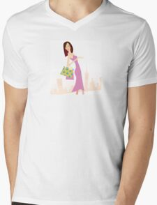 Spring shopping. Vector Illustration of woman with shopping bags. Mens V-Neck T-Shirt