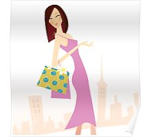 Spring shopping. Vector Illustration of woman with shopping bags. Poster