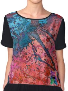 Red and Blue Splatagram Chiffon Top