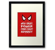 With great power... ( Spider-man ) Framed Print
