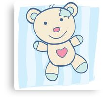 Blue Teddy bear. Children's Toy. Bear with heart, can be symbol of Love Canvas Print
