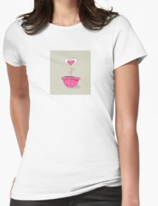 Wonderful love hat. Vector Illustration of love flower growing from hat. Womens Fitted T-Shirt