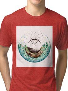 Blue-Green Otter Eye Tri-blend T-Shirt
