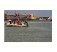 Dolphin and the boat Art Print