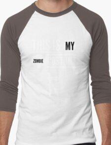 Funny Halloween TShirt Hoodie Costume This is my Zombie Costume Men's Baseball ¾ T-Shirt