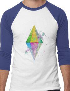 Watercolor Plumbob - No Background Men's Baseball ¾ T-Shirt