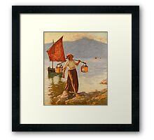 Henry Herbert La Thangue  FETCHING WATER FROM LAKE GARDA Framed Print