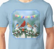 Winter Songbirds and Christmas Garland Unisex T-Shirt