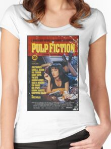 Pulp Fiction Uma Thurman Poster Women's Fitted Scoop T-Shirt