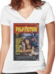 Pulp Fiction Uma Thurman Poster Women's Fitted V-Neck T-Shirt
