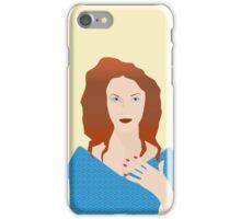 Woman in blue dress iPhone Case/Skin