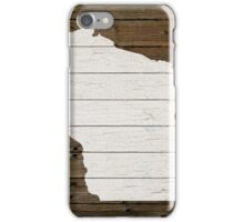 Wisconsin State Shape Map White Paint on Wood Planks iPhone Case/Skin
