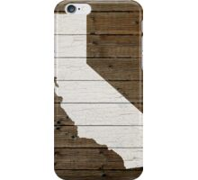 California State Shape Map White Paint on Wood Planks iPhone Case/Skin