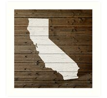 California State Shape Map White Paint on Wood Planks Art Print