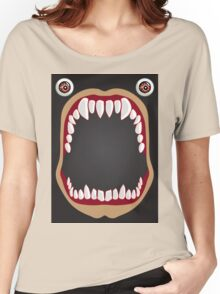 Open mouth on a black background Women's Relaxed Fit T-Shirt