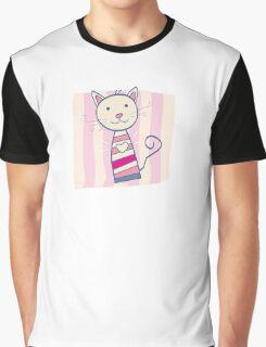 Pink kitten. Stripped small cute baby kitten Graphic T-Shirt