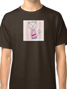 Pink kitten. Stripped small cute baby kitten Classic T-Shirt
