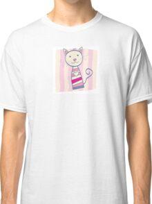 Pink kitten. Stripped small cute baby kitten Classic T-Shirt
